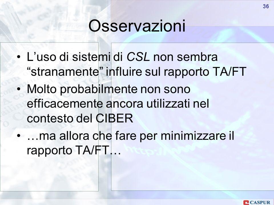 Carlo Maria Serio - c.serio@caspur.it 36 Osservazioni Luso di sistemi di CSL non sembra stranamente influire sul rapporto TA/FT Molto probabilmente non sono efficacemente ancora utilizzati nel contesto del CIBER …ma allora che fare per minimizzare il rapporto TA/FT…