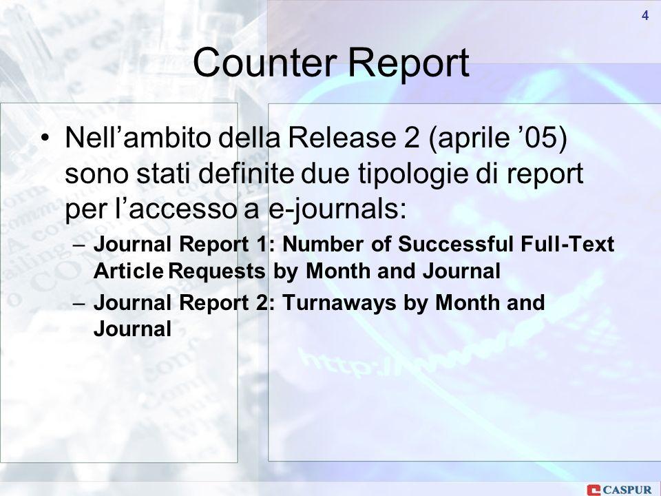 Carlo Maria Serio - c.serio@caspur.it 44 Nellambito della Release 2 (aprile 05) sono stati definite due tipologie di report per laccesso a e-journals: –Journal Report 1: Number of Successful Full-Text Article Requests by Month and Journal –Journal Report 2: Turnaways by Month and Journal Counter Report