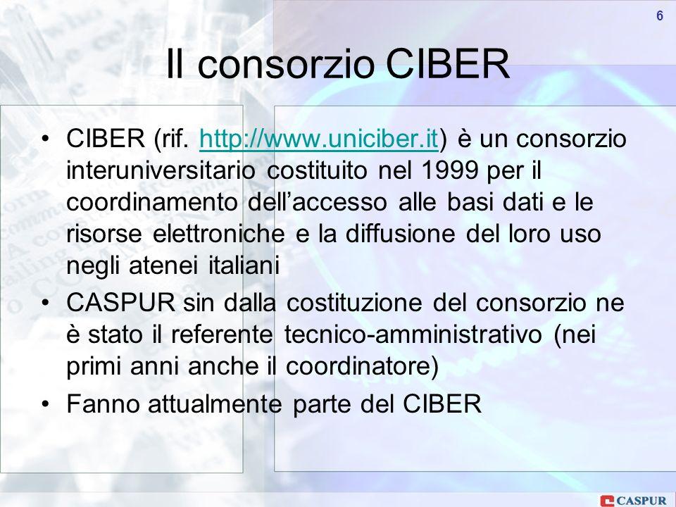 Carlo Maria Serio - c.serio@caspur.it 66 CIBER (rif.