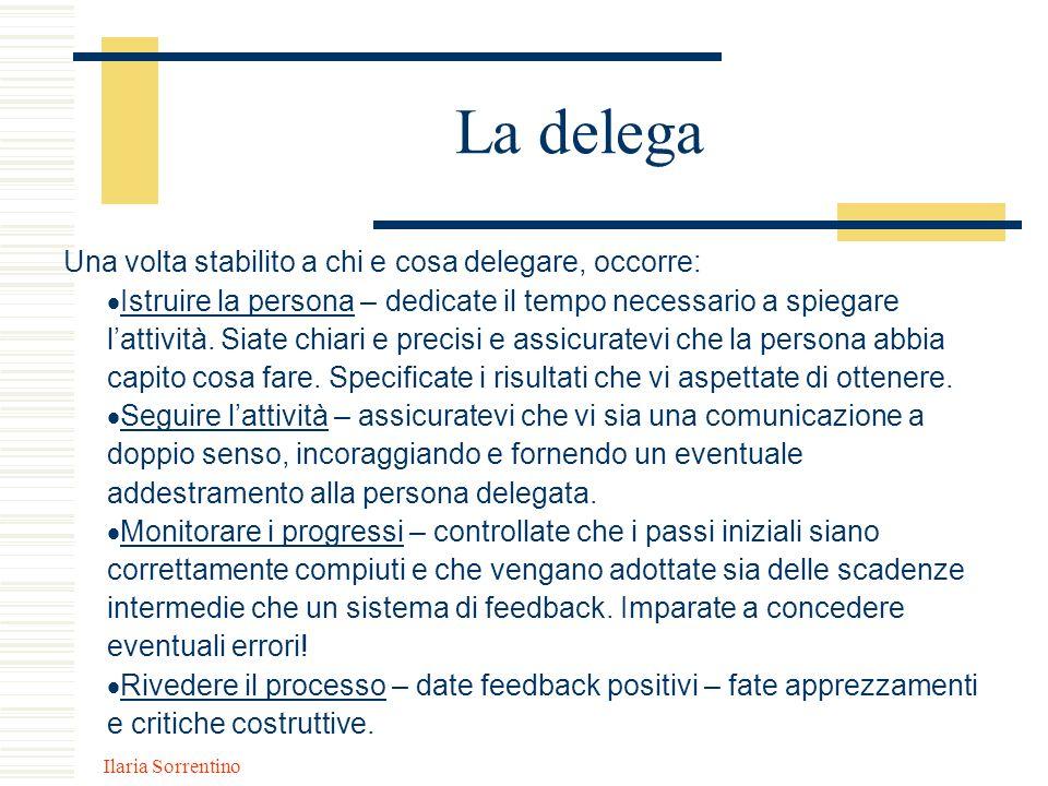 Ilaria Sorrentino La delega Una volta stabilito a chi e cosa delegare, occorre: Istruire la persona – dedicate il tempo necessario a spiegare lattivit