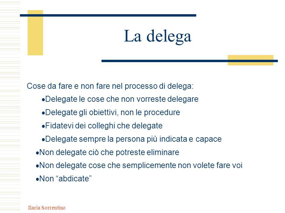 Ilaria Sorrentino La delega Cose da fare e non fare nel processo di delega: Delegate le cose che non vorreste delegare Delegate gli obiettivi, non le
