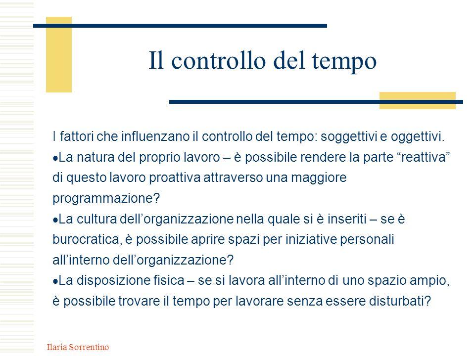 Ilaria Sorrentino Il controllo del tempo I fattori che influenzano il controllo del tempo: soggettivi e oggettivi. La natura del proprio lavoro – è po