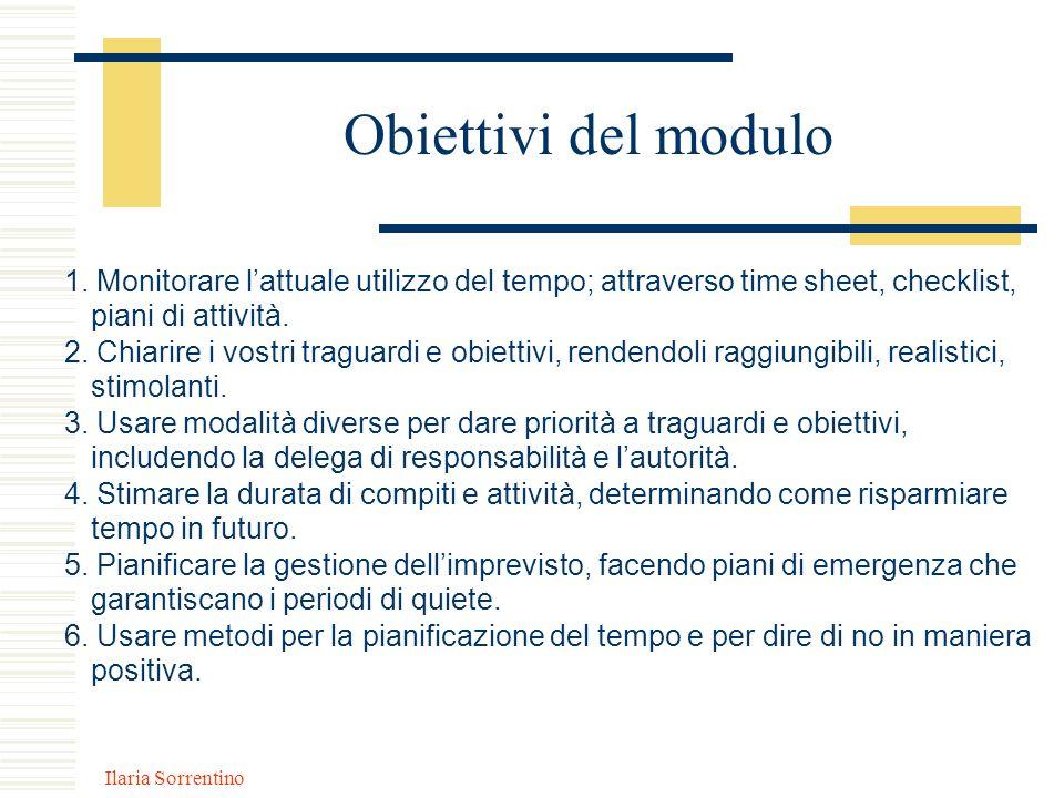 Ilaria Sorrentino Obiettivi del modulo 1. Monitorare lattuale utilizzo del tempo; attraverso time sheet, checklist, piani di attività. 2. Chiarire i v
