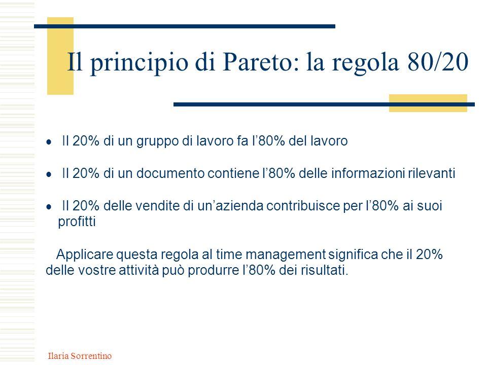 Ilaria Sorrentino Il principio di Pareto: la regola 80/20 Il 20% di un gruppo di lavoro fa l80% del lavoro Il 20% di un documento contiene l80% delle