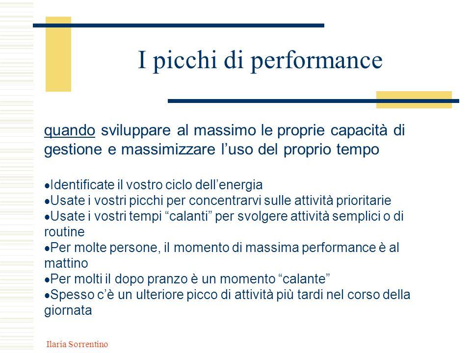 Ilaria Sorrentino I picchi di performance quando sviluppare al massimo le proprie capacità di gestione e massimizzare luso del proprio tempo Identific