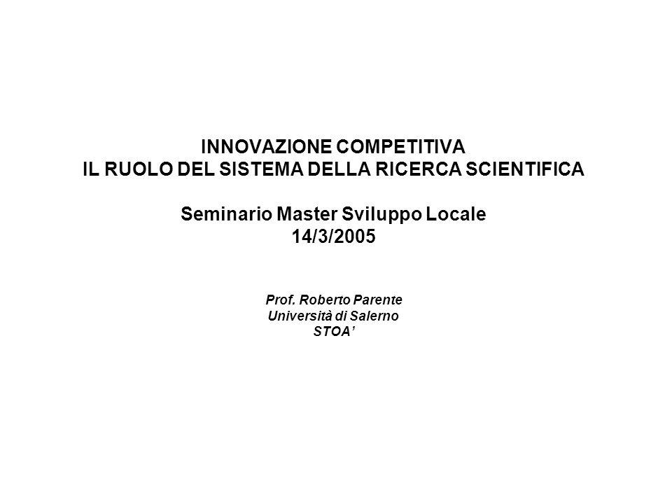 INNOVAZIONE COMPETITIVA IL RUOLO DEL SISTEMA DELLA RICERCA SCIENTIFICA Seminario Master Sviluppo Locale 14/3/2005 Prof. Roberto Parente Università di