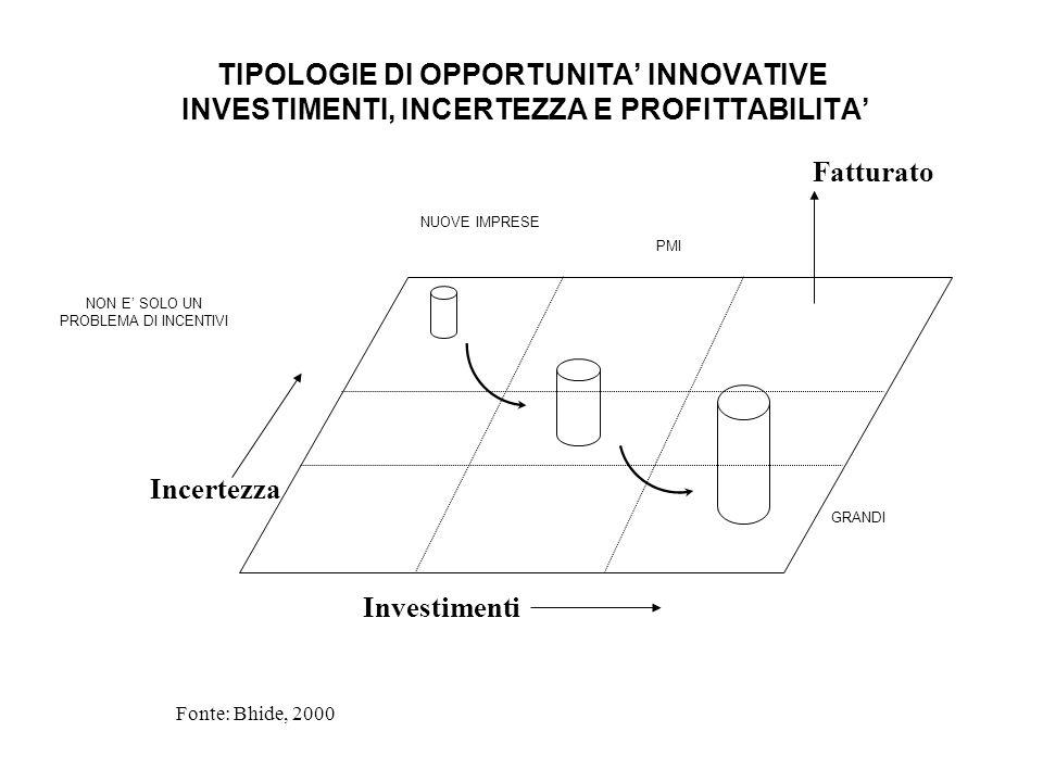 TIPOLOGIE DI OPPORTUNITA INNOVATIVE INVESTIMENTI, INCERTEZZA E PROFITTABILITA Investimenti Incertezza Fatturato Fonte: Bhide, 2000 NUOVE IMPRESE PMI G