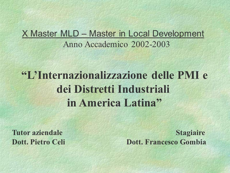 X Master MLD – Master in Local Development Anno Accademico 2002-2003 LInternazionalizzazione delle PMI e dei Distretti Industriali in America Latina Tutor aziendale Stagiaire Dott.