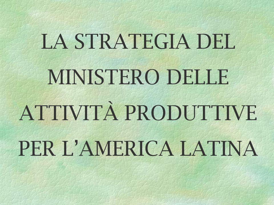 LA STRATEGIA DEL MINISTERO DELLE ATTIVITÀ PRODUTTIVE PER LAMERICA LATINA
