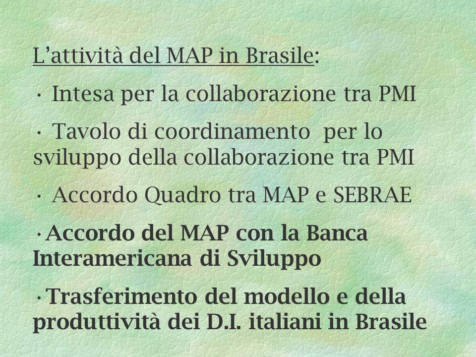 Lattività del MAP in Brasile: Intesa per la collaborazione tra PMI Tavolo di coordinamento per lo sviluppo della collaborazione tra PMI Accordo Quadro tra MAP e SEBRAE Accordo del MAP con la Banca Interamericana di Sviluppo Trasferimento del modello e della produttività dei D.I.