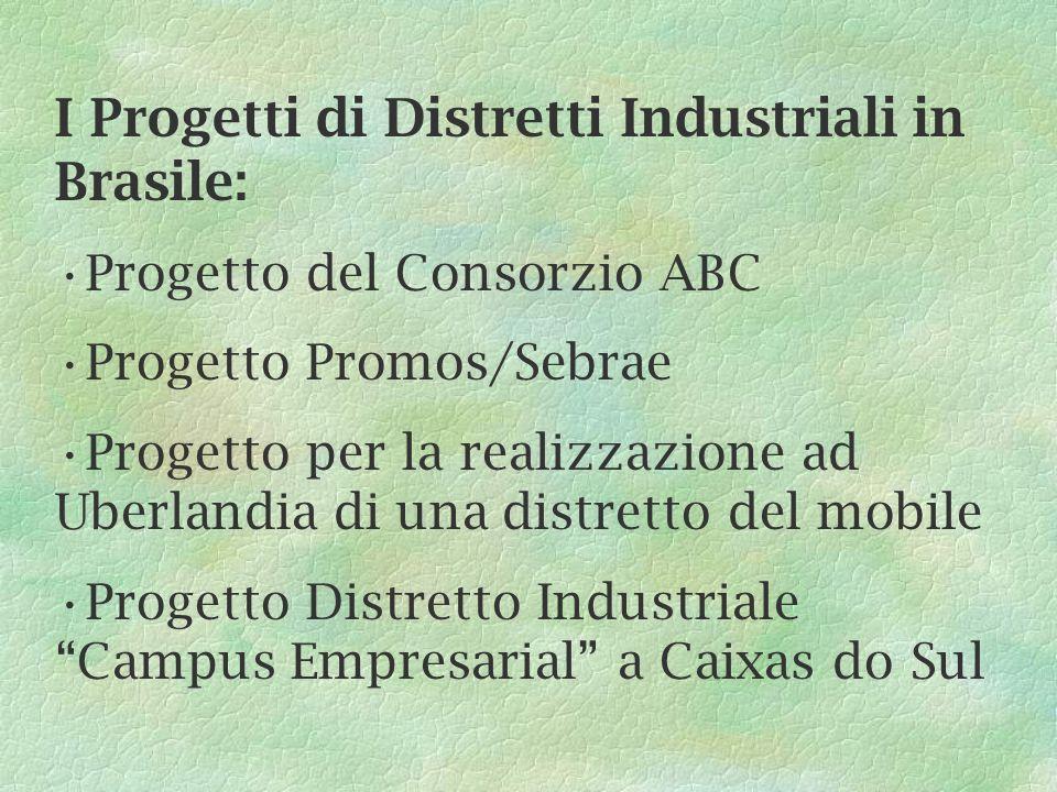 I Progetti di Distretti Industriali in Brasile: Progetto del Consorzio ABC Progetto Promos/Sebrae Progetto per la realizzazione ad Uberlandia di una distretto del mobile Progetto Distretto Industriale Campus Empresarial a Caixas do Sul