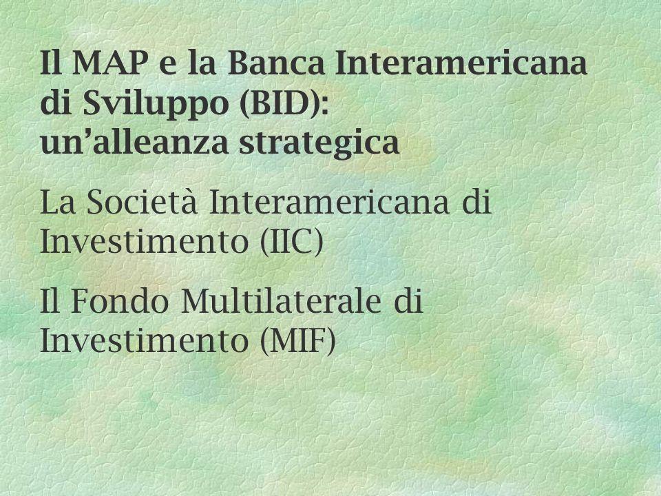 Il MAP e la Banca Interamericana di Sviluppo (BID): unalleanza strategica La Società Interamericana di Investimento (IIC) Il Fondo Multilaterale di In