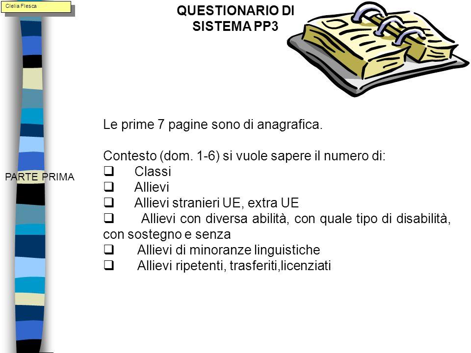 PARTE PRIMA Le prime 7 pagine sono di anagrafica. Contesto (dom.