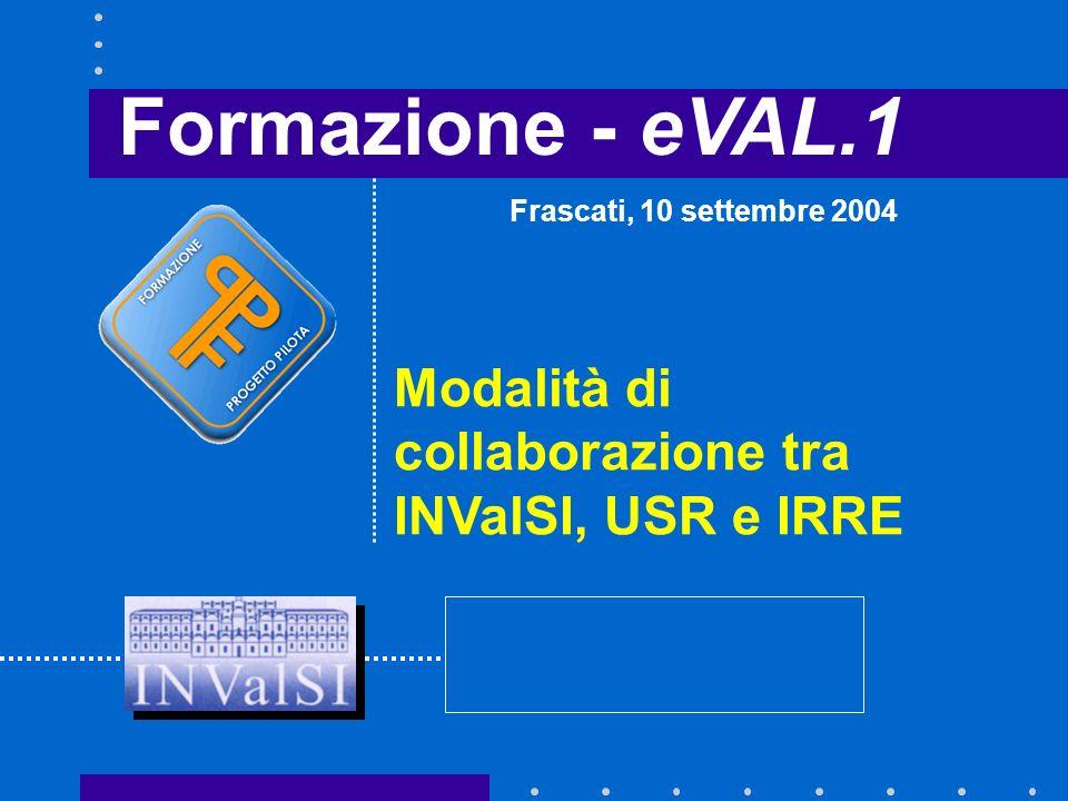 Formazione - eVAL.1 Modalità di collaborazione tra INValSI, USR e IRRE Frascati, 10 settembre 2004