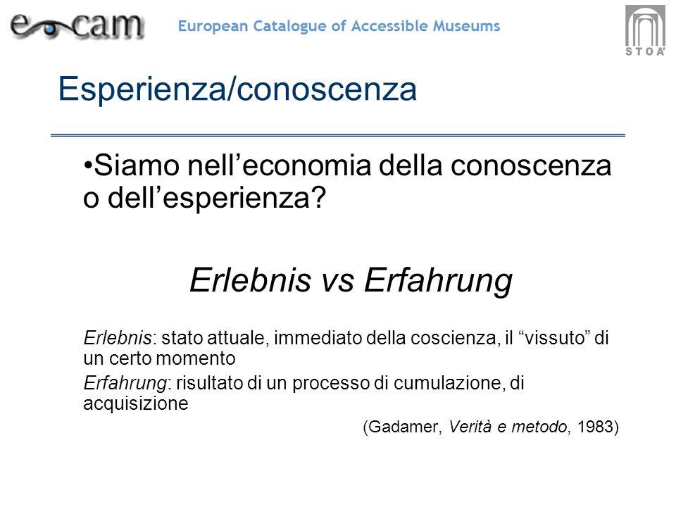 Esperienza/conoscenza Siamo nelleconomia della conoscenza o dellesperienza.