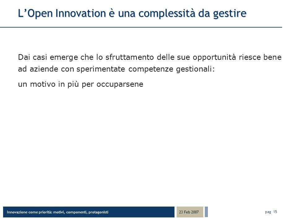 Innovazione come priorità: motivi, componenti, protagonisti 23 Feb 2007 pag 15 LOpen Innovation è una complessità da gestire Dai casi emerge che lo sfruttamento delle sue opportunità riesce bene ad aziende con sperimentate competenze gestionali: un motivo in più per occuparsene