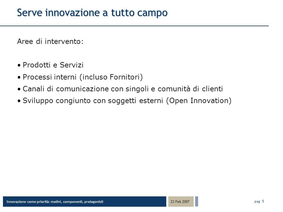 Innovazione come priorità: motivi, componenti, protagonisti 23 Feb 2007 pag 6 Fattori di successo nellinnovazione Le competenze sembrano più importanti dei soldi