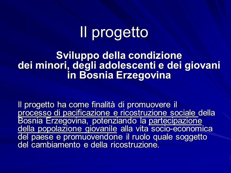 Il progetto Sviluppo della condizione dei minori, degli adolescenti e dei giovani in Bosnia Erzegovina Il progetto ha come finalità di promuovere il p