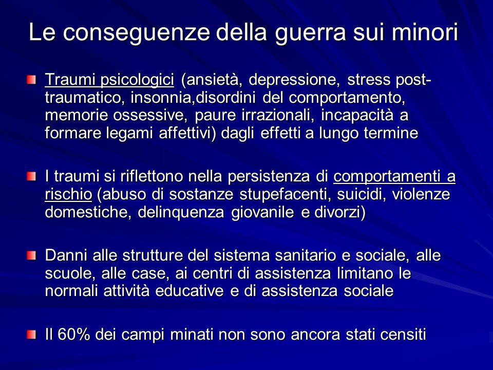 Le conseguenze della guerra sui minori Traumi psicologici (ansietà, depressione, stress post- traumatico, insonnia,disordini del comportamento, memori
