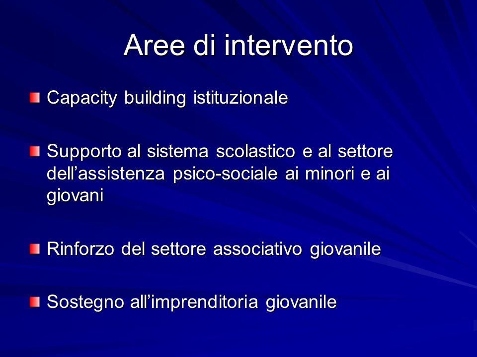 Aree di intervento Capacity building istituzionale Supporto al sistema scolastico e al settore dellassistenza psico-sociale ai minori e ai giovani Rin