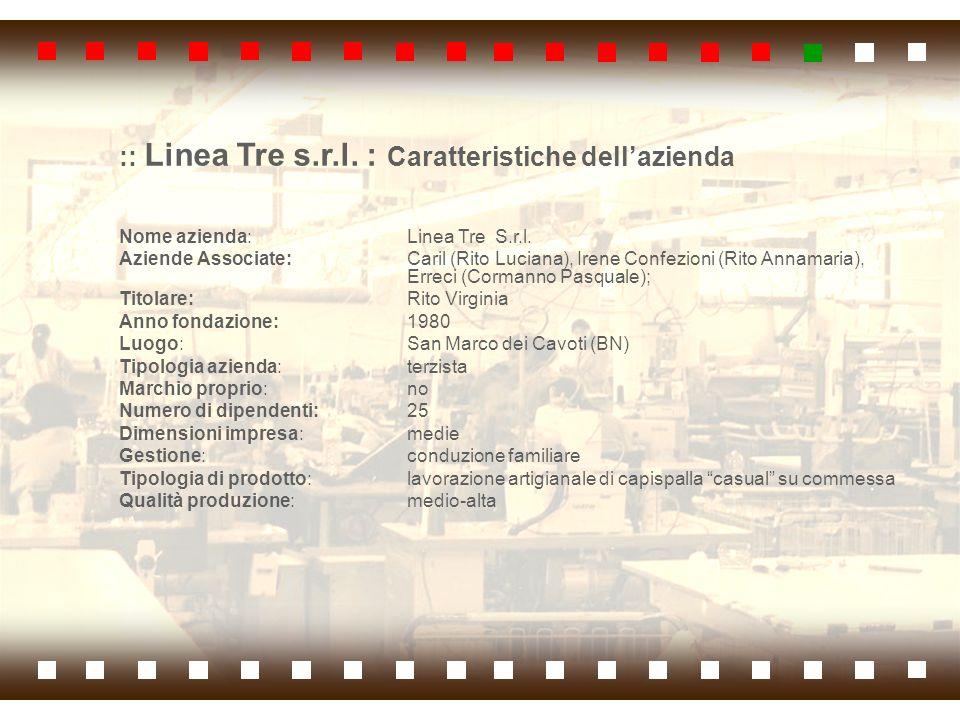 :: Linea Tre s.r.l. : Caratteristiche dellazienda Nome azienda: Linea Tre S.r.l. Aziende Associate: Caril (Rito Luciana), Irene Confezioni (Rito Annam