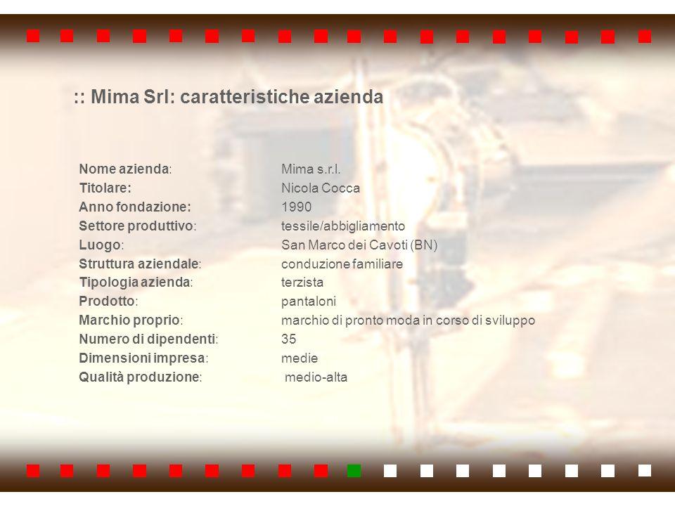 :: Mima Srl: caratteristiche azienda Nome azienda: Mima s.r.l. Titolare: Nicola Cocca Anno fondazione: 1990 Settore produttivo: tessile/abbigliamento