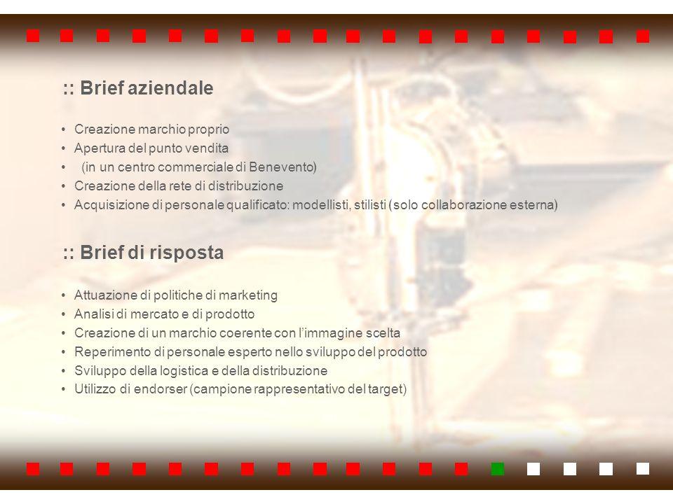 :: Brief aziendale Creazione marchio proprio Apertura del punto vendita (in un centro commerciale di Benevento Creazione della rete di distribuzione A