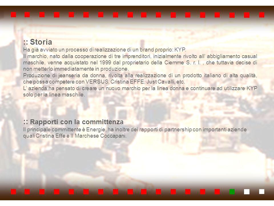 :: PUNTI DI FORZA Localizzazione area PIP Creazione di un marchio proprio Manodopera specializzata Grande capacità produttiva Rapporti di partnership con altre aziende Spirito imprenditoriale proattivo Modellista interna