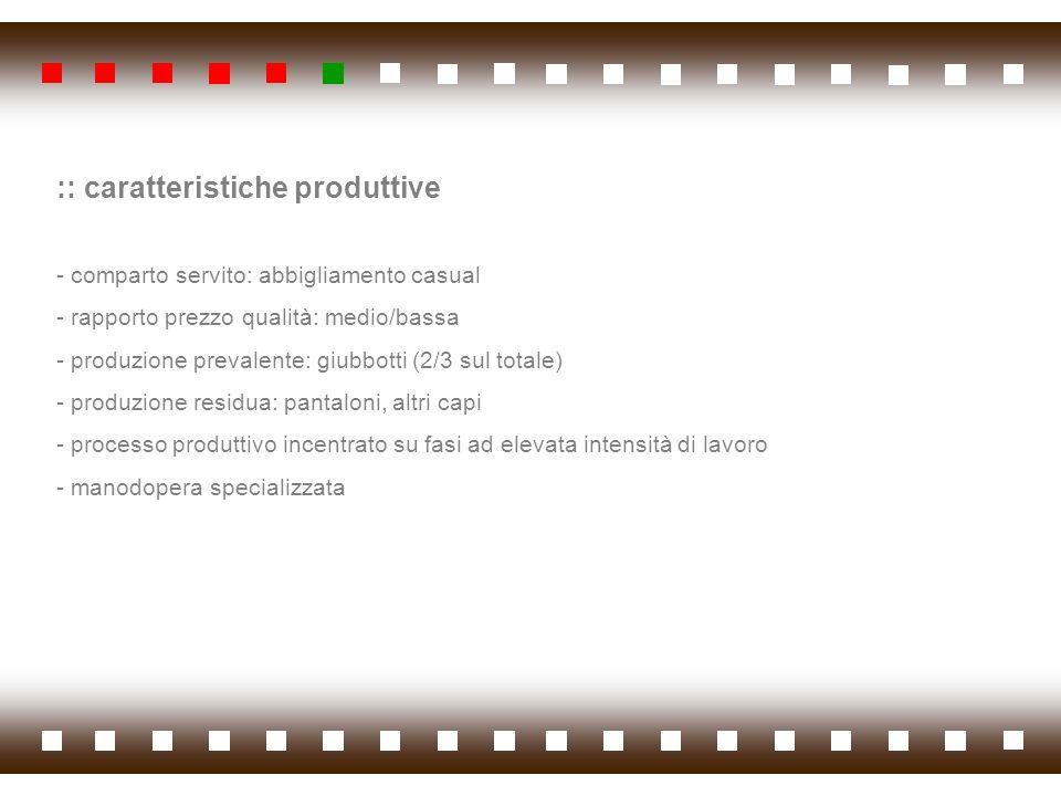 :: caratteristiche produttive - comparto servito: abbigliamento casual - rapporto prezzo qualità: medio/bassa - produzione prevalente: giubbotti (2/3