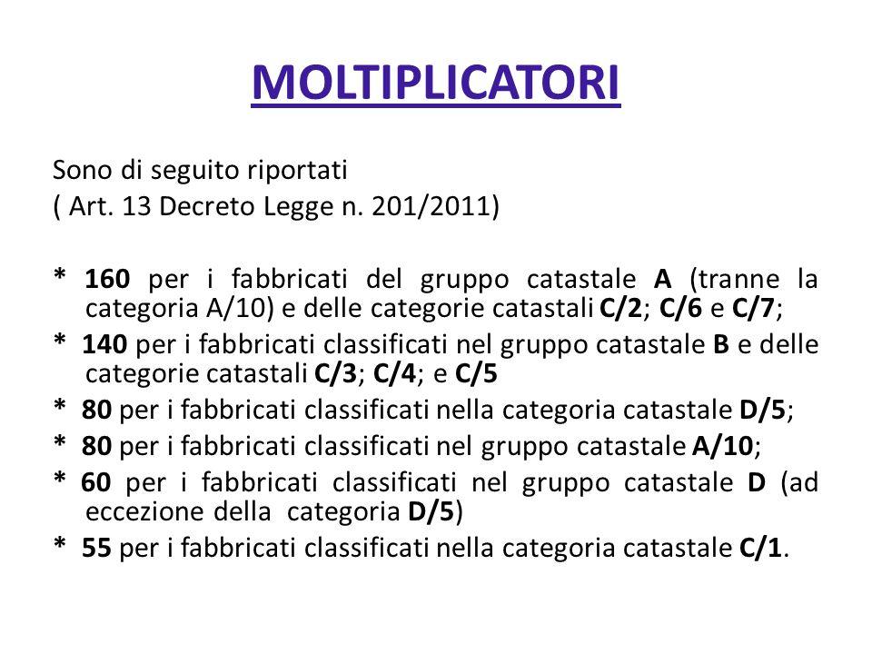 MOLTIPLICATORI Sono di seguito riportati ( Art. 13 Decreto Legge n. 201/2011) * 160 per i fabbricati del gruppo catastale A (tranne la categoria A/10)