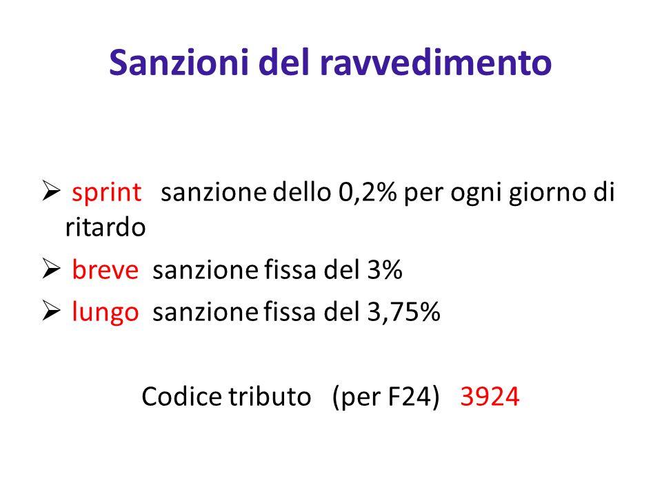 Sanzioni del ravvedimento sprint sanzione dello 0,2% per ogni giorno di ritardo breve sanzione fissa del 3% lungo sanzione fissa del 3,75% Codice tributo (per F24) 3924