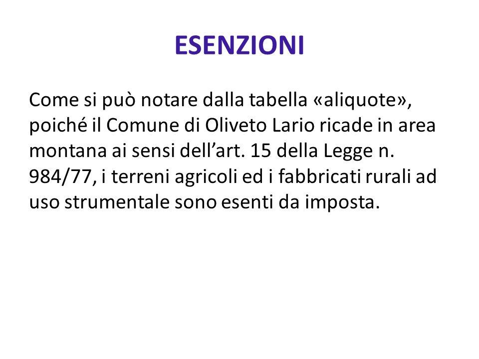 ESENZIONI Come si può notare dalla tabella «aliquote», poiché il Comune di Oliveto Lario ricade in area montana ai sensi dellart. 15 della Legge n. 98