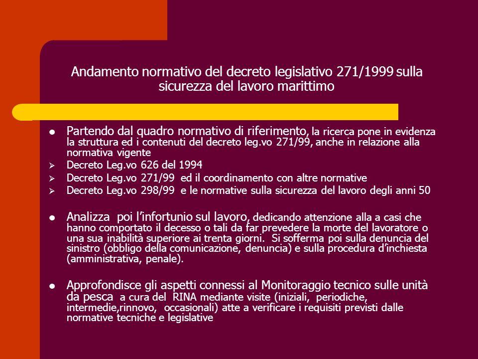 Andamento normativo del decreto legislativo 271/1999 sulla sicurezza del lavoro marittimo Partendo dal quadro normativo di riferimento, la ricerca pon