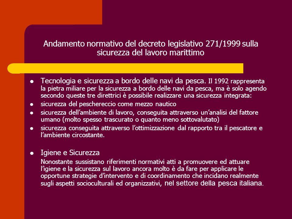Andamento normativo del decreto legislativo 271/1999 sulla sicurezza del lavoro marittimo Tecnologia e sicurezza a bordo delle navi da pesca. Il 1992
