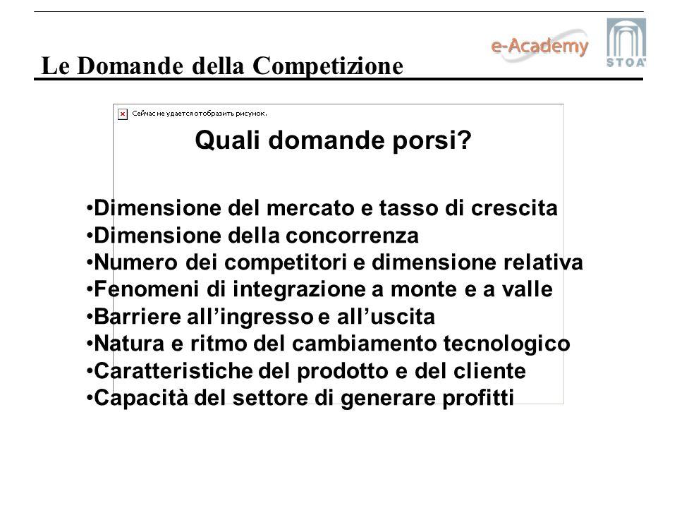 Le Domande della Competizione Dimensione del mercato e tasso di crescita Dimensione della concorrenza Numero dei competitori e dimensione relativa Fen