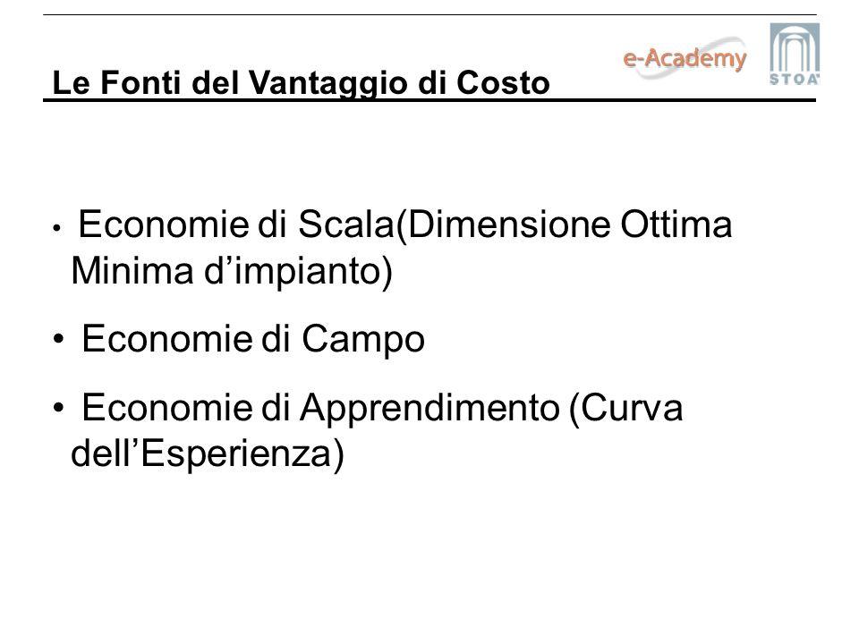 Le Fonti del Vantaggio di Costo Economie di Scala(Dimensione Ottima Minima dimpianto) Economie di Campo Economie di Apprendimento (Curva dellEsperienz