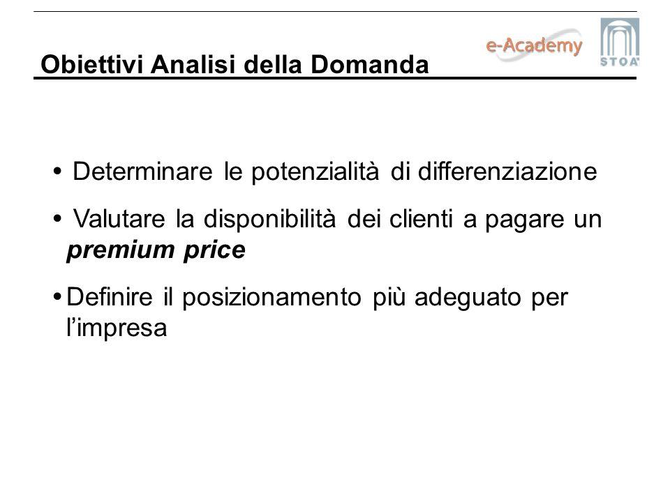 Obiettivi Analisi della Domanda Determinare le potenzialità di differenziazione Valutare la disponibilità dei clienti a pagare un premium price Defini