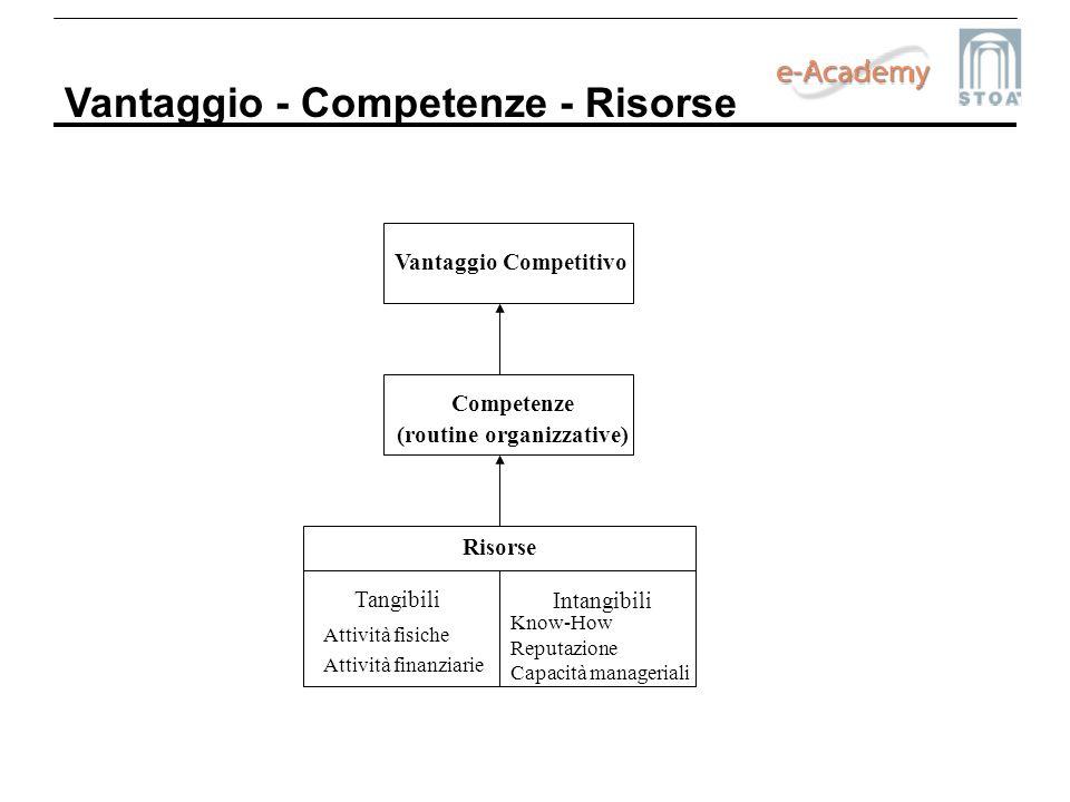 Vantaggio - Competenze - Risorse Vantaggio Competitivo Competenze (routine organizzative) Risorse Tangibili Intangibili Attività fisiche Attività fina