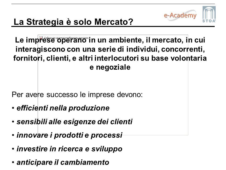 La Strategia è solo Mercato? Le imprese operano in un ambiente, il mercato, in cui interagiscono con una serie di individui, concorrenti, fornitori, c