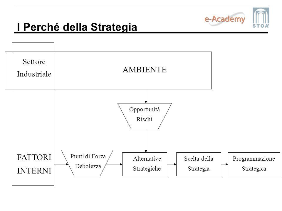 I Perché della Strategia Settore Industriale Scelta della Strategia Programmazione Strategica Alternative Strategiche Punti di Forza Debolezza Opportu