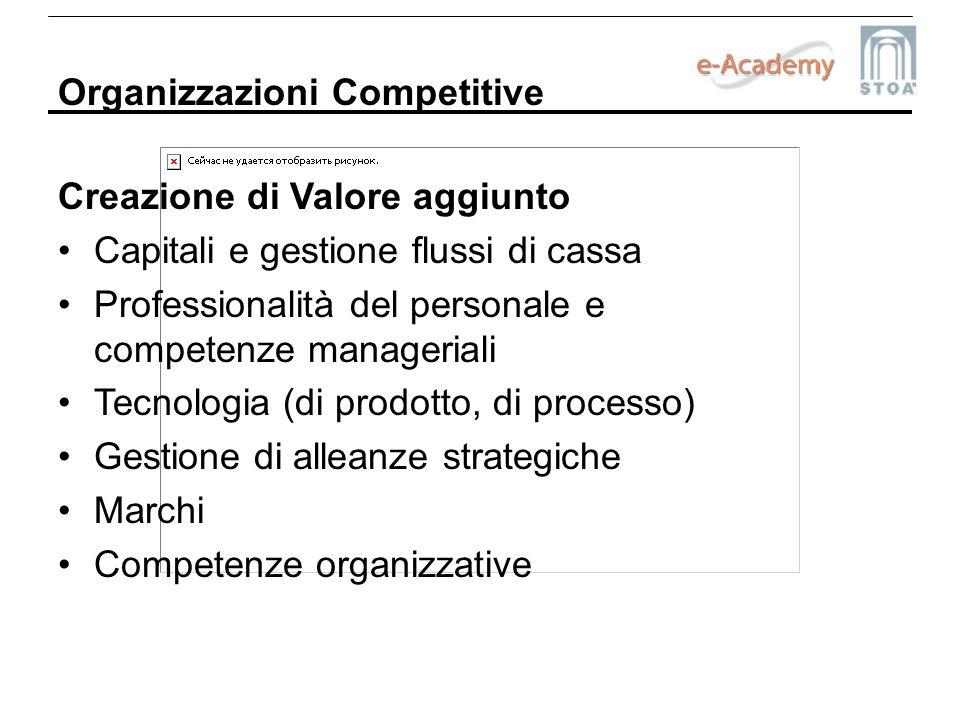 Organizzazioni Competitive Creazione di Valore aggiunto Capitali e gestione flussi di cassa Professionalità del personale e competenze manageriali Tec
