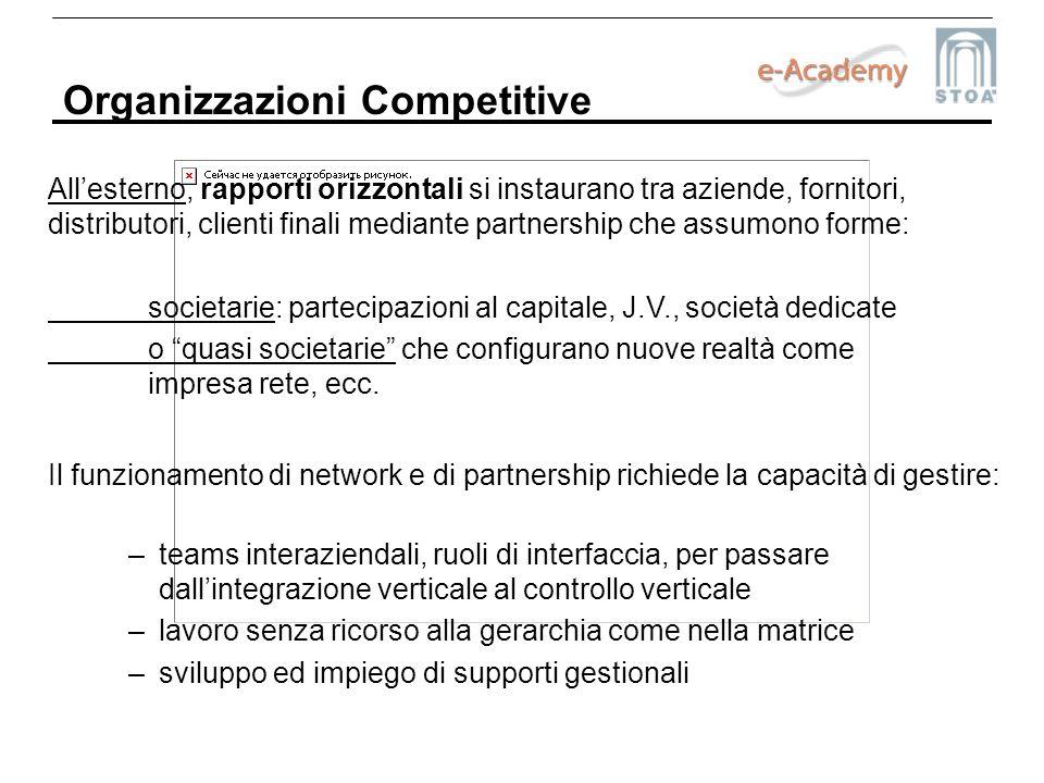 Organizzazioni Competitive Allesterno, rapporti orizzontali si instaurano tra aziende, fornitori, distributori, clienti finali mediante partnership ch