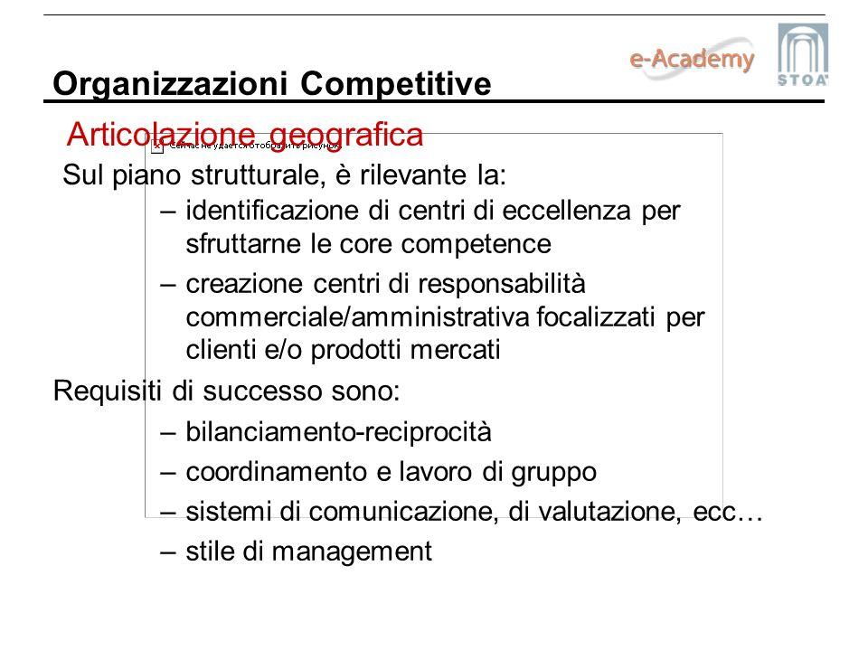 Organizzazioni Competitive Sul piano strutturale, è rilevante la: –identificazione di centri di eccellenza per sfruttarne le core competence –creazion