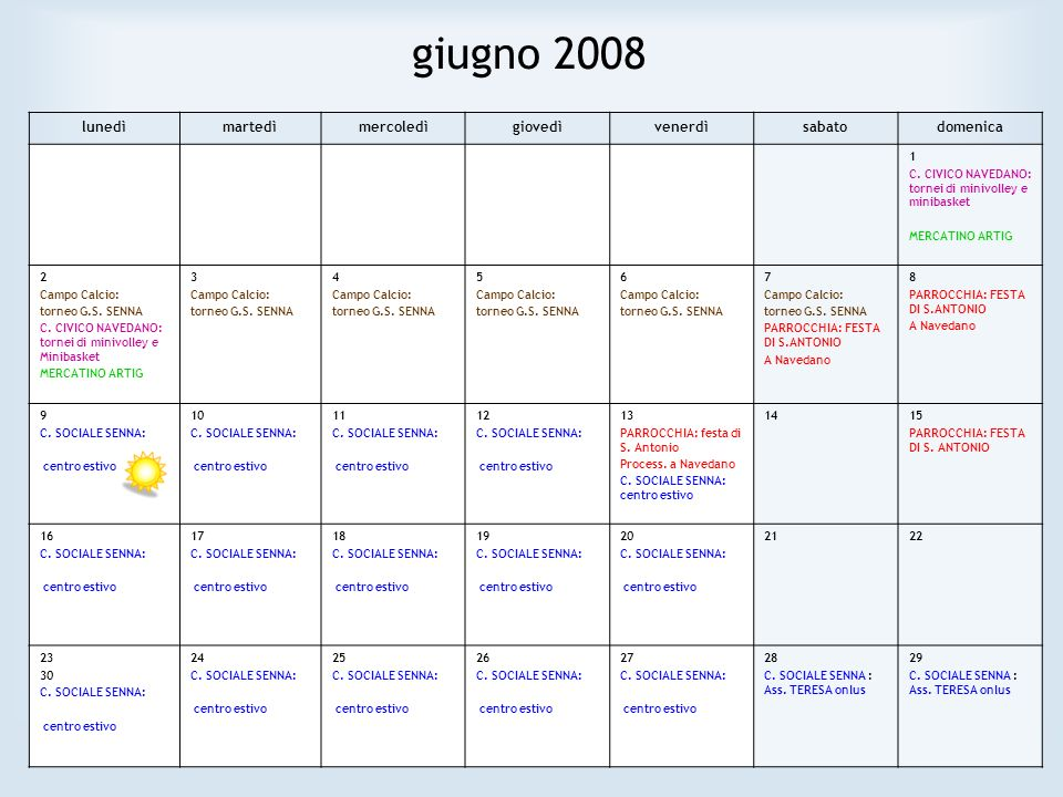 giugno 2008 lunedìmartedìmercoledìgiovedìvenerdìsabatodomenica 1 C. CIVICO NAVEDANO: tornei di minivolley e minibasket MERCATINO ARTIG 2 Campo Calcio: