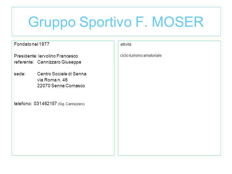Gruppo Sportivo F. MOSER Fondato nel 1977 Presidente: Iervolino Francesco referente:Cannizzaro Giuseppe sede: Centro Sociale di Senna via Roma n. 46 2