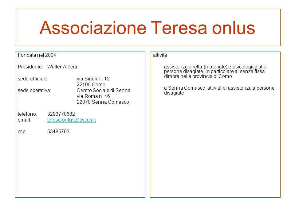 Associazione Teresa onlus Fondata nel 2004 Presidente:Walter Alberti sede ufficiale: via Sirtori n. 12 22100 Como sede operativa:Centro Sociale di Sen