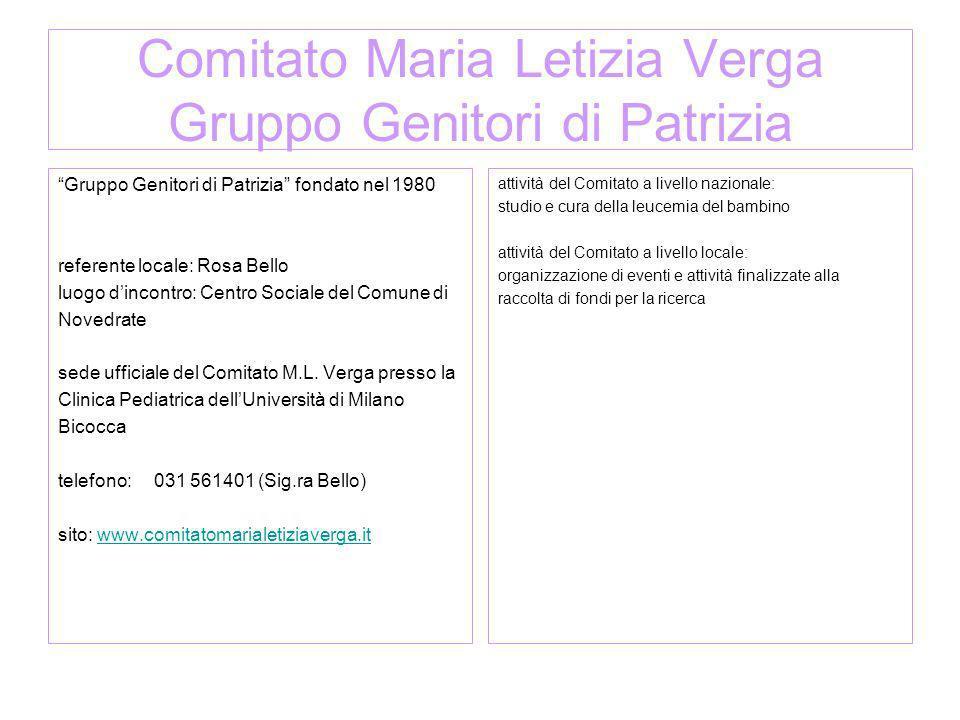 Comitato Maria Letizia Verga Gruppo Genitori di Patrizia Gruppo Genitori di Patrizia fondato nel 1980 referente locale: Rosa Bello luogo dincontro: Ce