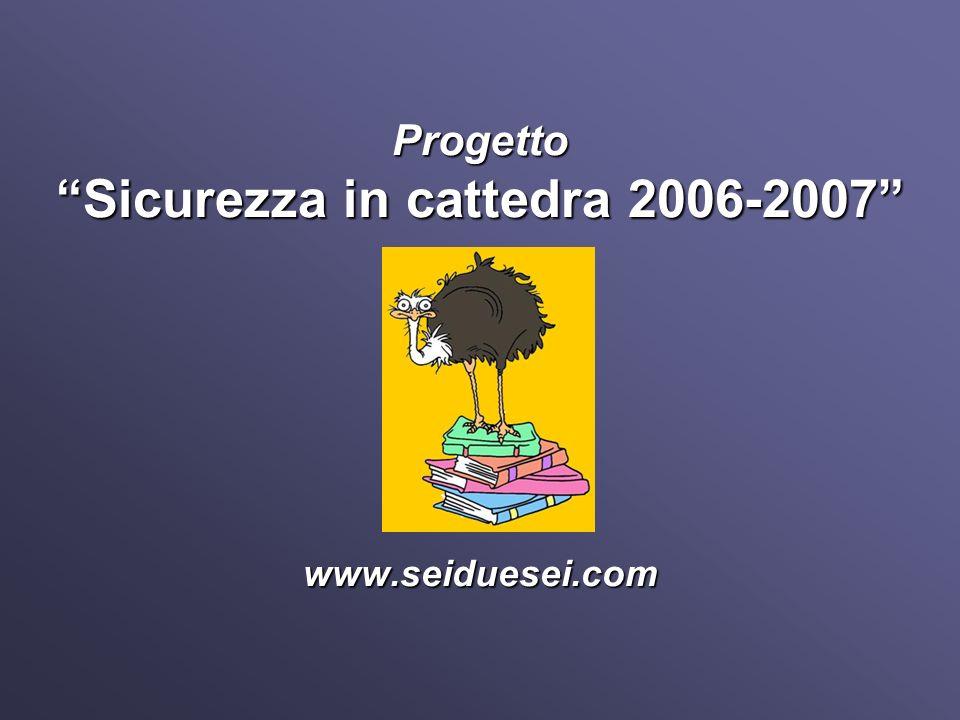 Sicurezza in cattedra 2006-2007 Progettazione di un percorso formativo di promozione della salute e sua sperimentazione allinterno di una Rete di istituti scolastici ad indirizzo tecnico-professionale.