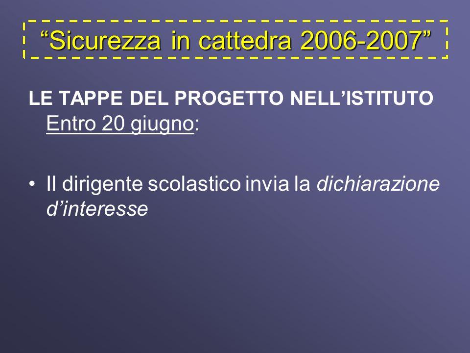 Sicurezza in cattedra 2006-2007 LE TAPPE DEL PROGETTO NELLISTITUTO Entro 20 giugno: Il dirigente scolastico invia la dichiarazione dinteresse