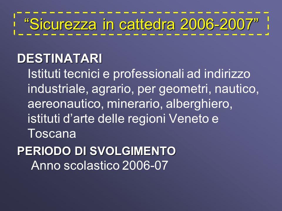 Sicurezza in cattedra 2006-2007 DESTINATARI DESTINATARI Istituti tecnici e professionali ad indirizzo industriale, agrario, per geometri, nautico, aereonautico, minerario, alberghiero, istituti darte delle regioni Veneto e Toscana PERIODO DI SVOLGIMENTO PERIODO DI SVOLGIMENTO Anno scolastico 2006-07